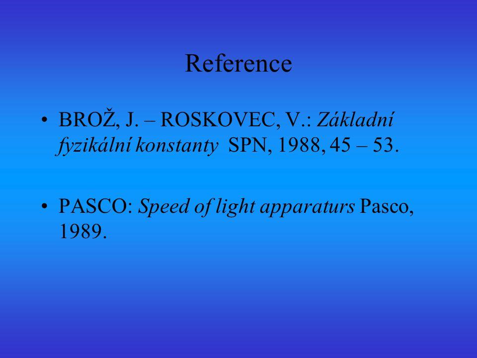 Reference BROŽ, J. – ROSKOVEC, V.: Základní fyzikální konstanty SPN, 1988, 45 – 53.