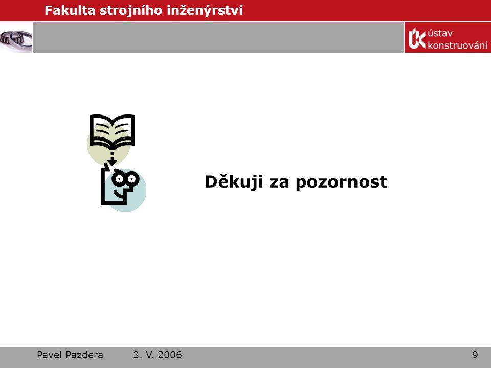 Děkuji za pozornost Pavel Pazdera 3. V. 2006