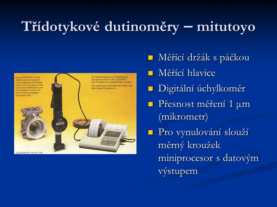 Třídotykové dutinoměry – mitutoyo