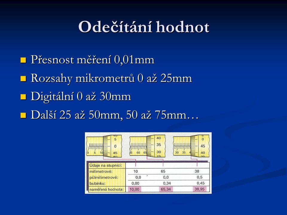 Odečítání hodnot Přesnost měření 0,01mm Rozsahy mikrometrů 0 až 25mm