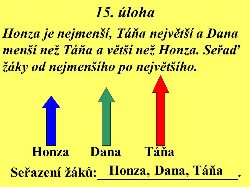 15. úloha Honza je nejmenší, Táňa největší a Dana