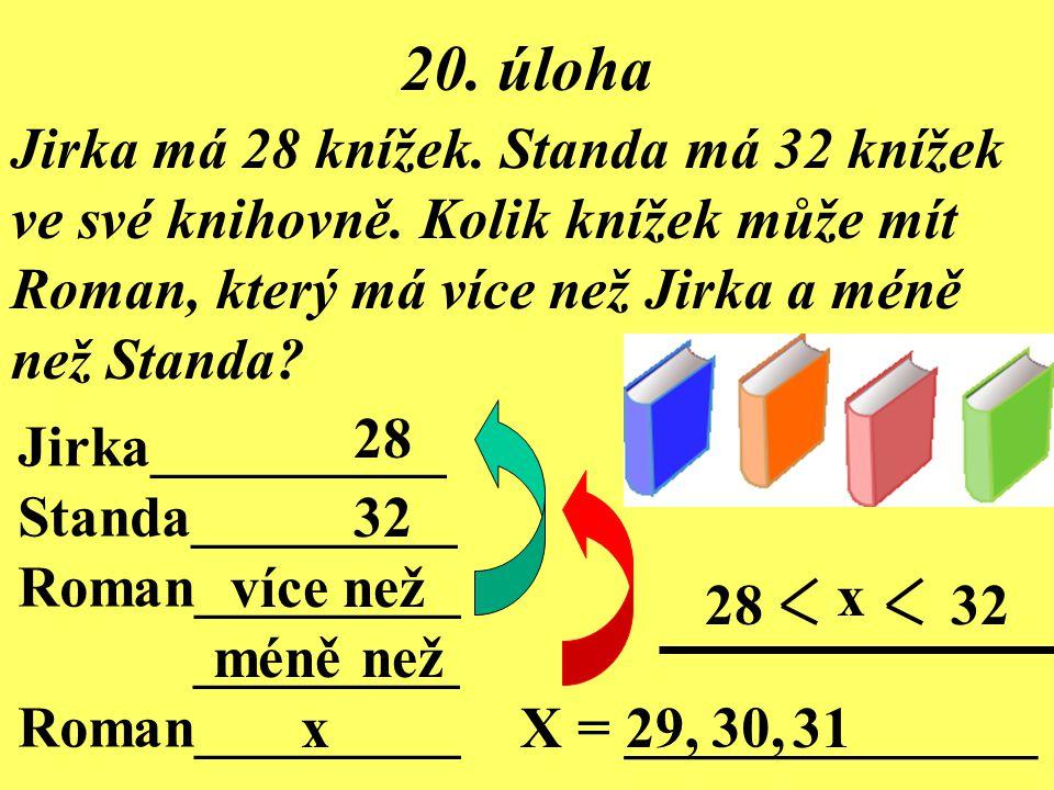 20. úloha Jirka má 28 knížek. Standa má 32 knížek