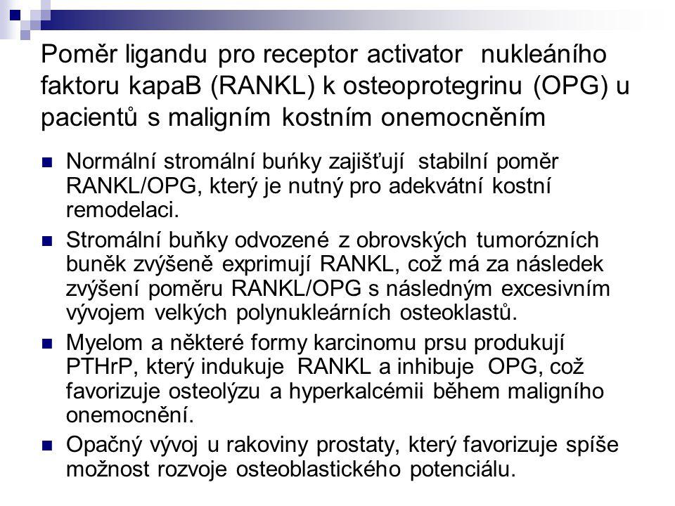 Poměr ligandu pro receptor activator nukleáního faktoru kapaB (RANKL) k osteoprotegrinu (OPG) u pacientů s maligním kostním onemocněním