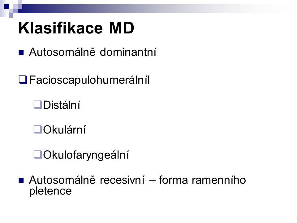 Klasifikace MD Autosomálně dominantní Facioscapulohumerálníl Distální