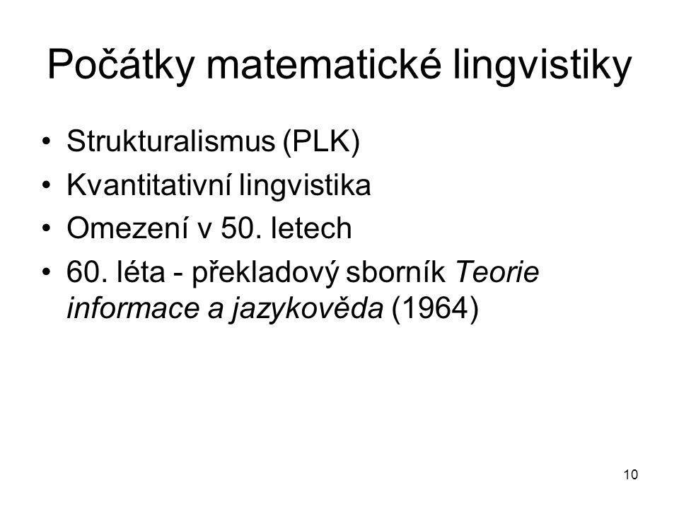 Počátky matematické lingvistiky