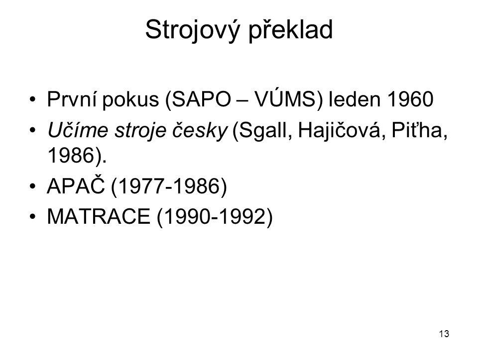 Strojový překlad První pokus (SAPO – VÚMS) leden 1960