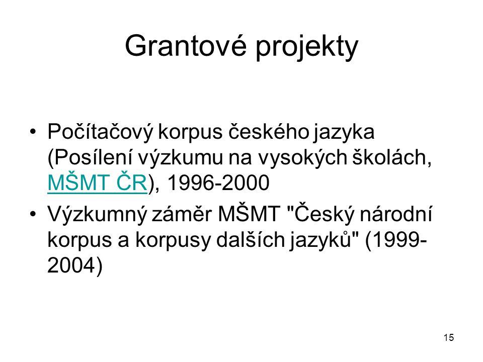 Grantové projekty Počítačový korpus českého jazyka (Posílení výzkumu na vysokých školách, MŠMT ČR), 1996-2000.
