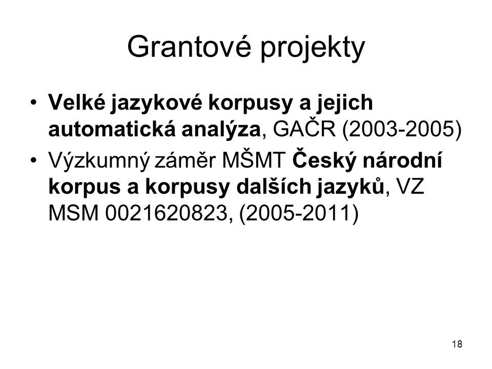 Grantové projekty Velké jazykové korpusy a jejich automatická analýza, GAČR (2003-2005)