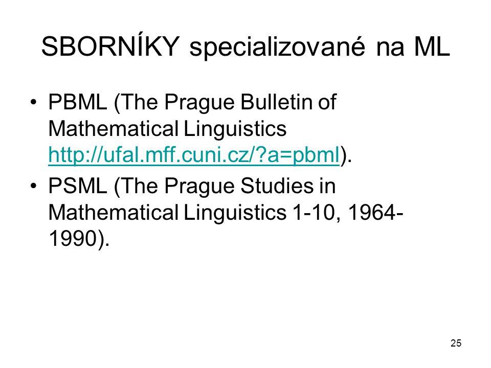 SBORNÍKY specializované na ML