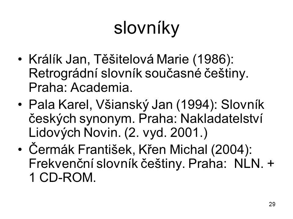 slovníky Králík Jan, Těšitelová Marie (1986): Retrográdní slovník současné češtiny. Praha: Academia.