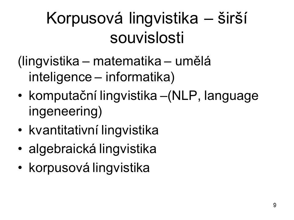 Korpusová lingvistika – širší souvislosti