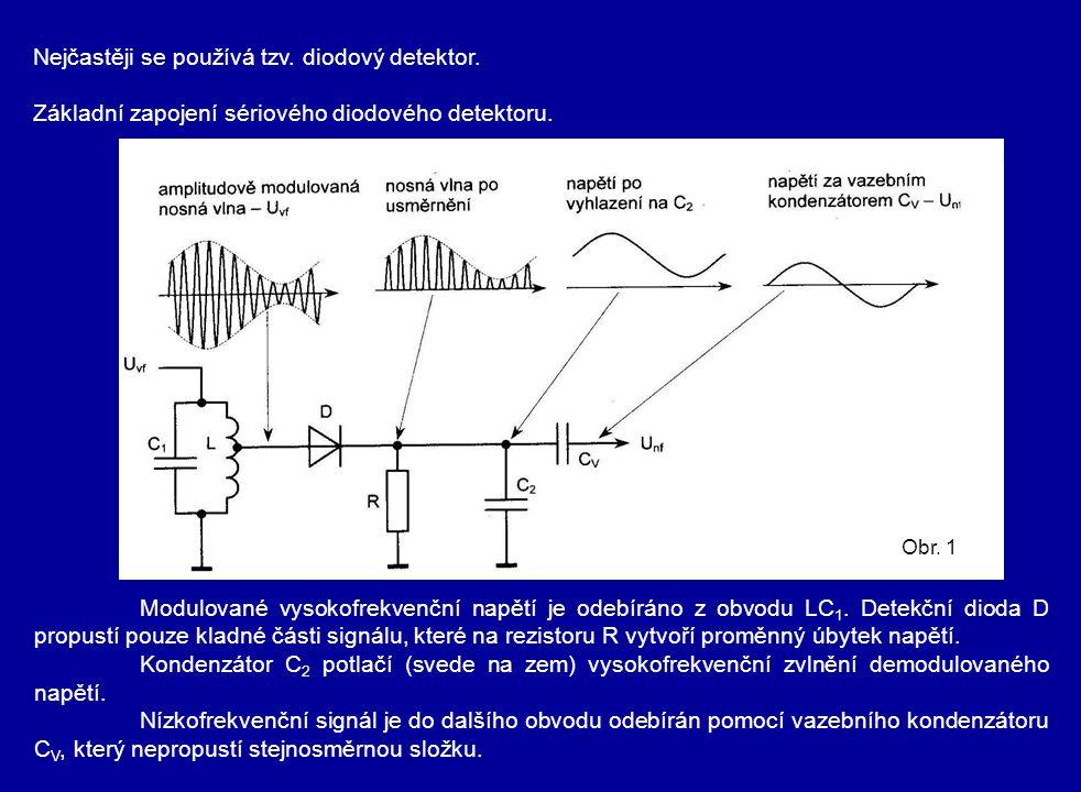 Nejčastěji se používá tzv. diodový detektor.