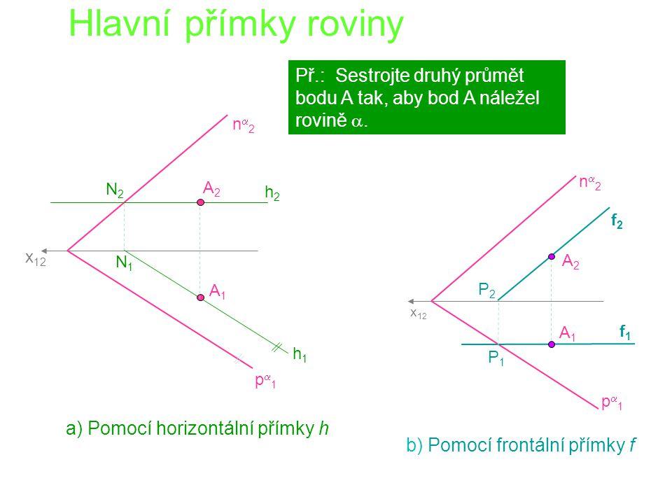 Hlavní přímky roviny Př.: Sestrojte druhý průmět bodu A tak, aby bod A náležel rovině a. na2. na2.