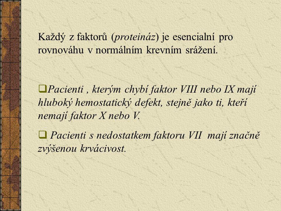 Každý z faktorů (proteináz) je esencialní pro rovnováhu v normálním krevním srážení.