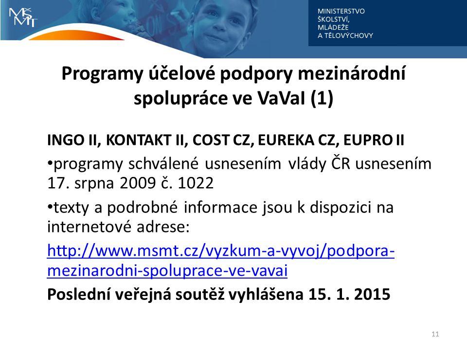 Programy účelové podpory mezinárodní spolupráce ve VaVaI (1)