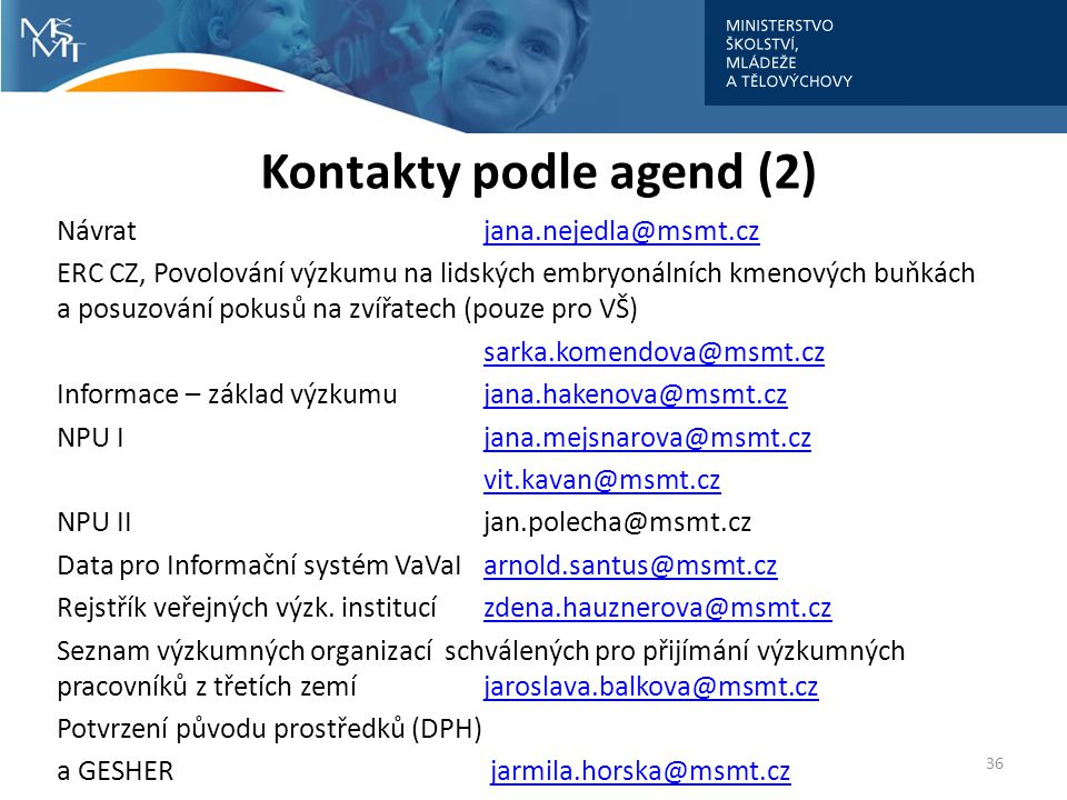 Kontakty podle agend (2)