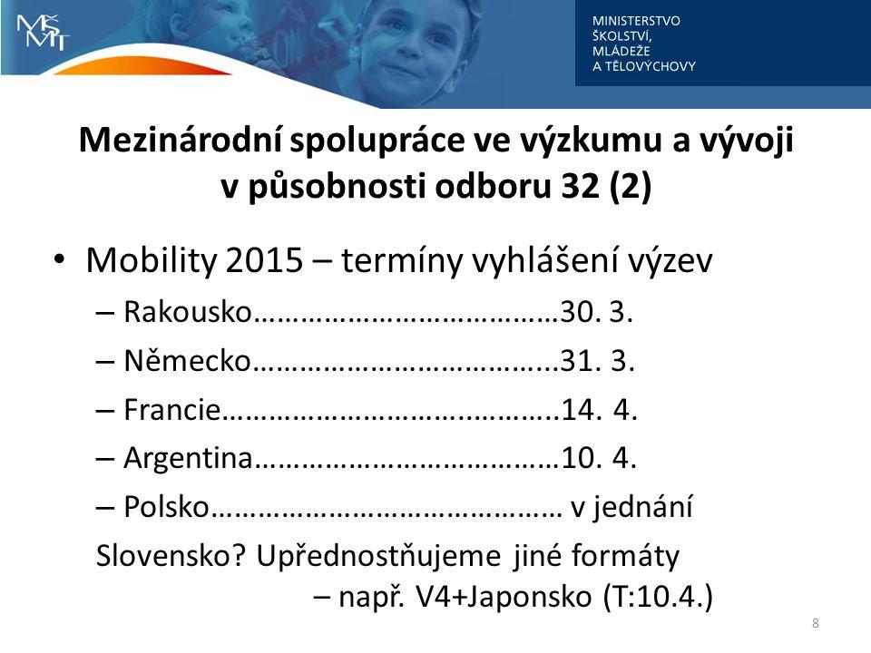 Mezinárodní spolupráce ve výzkumu a vývoji v působnosti odboru 32 (2)