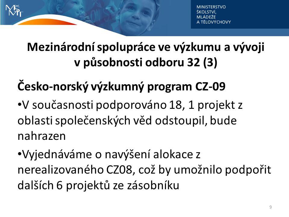 Mezinárodní spolupráce ve výzkumu a vývoji v působnosti odboru 32 (3)