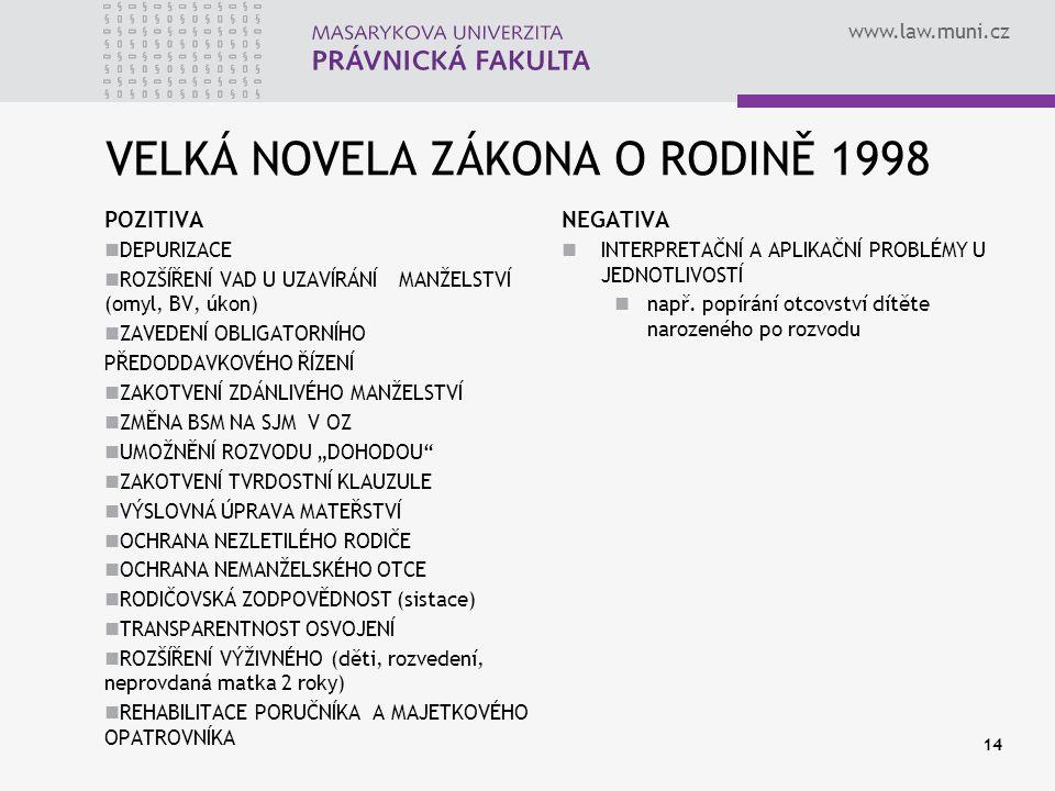 VELKÁ NOVELA ZÁKONA O RODINĚ 1998