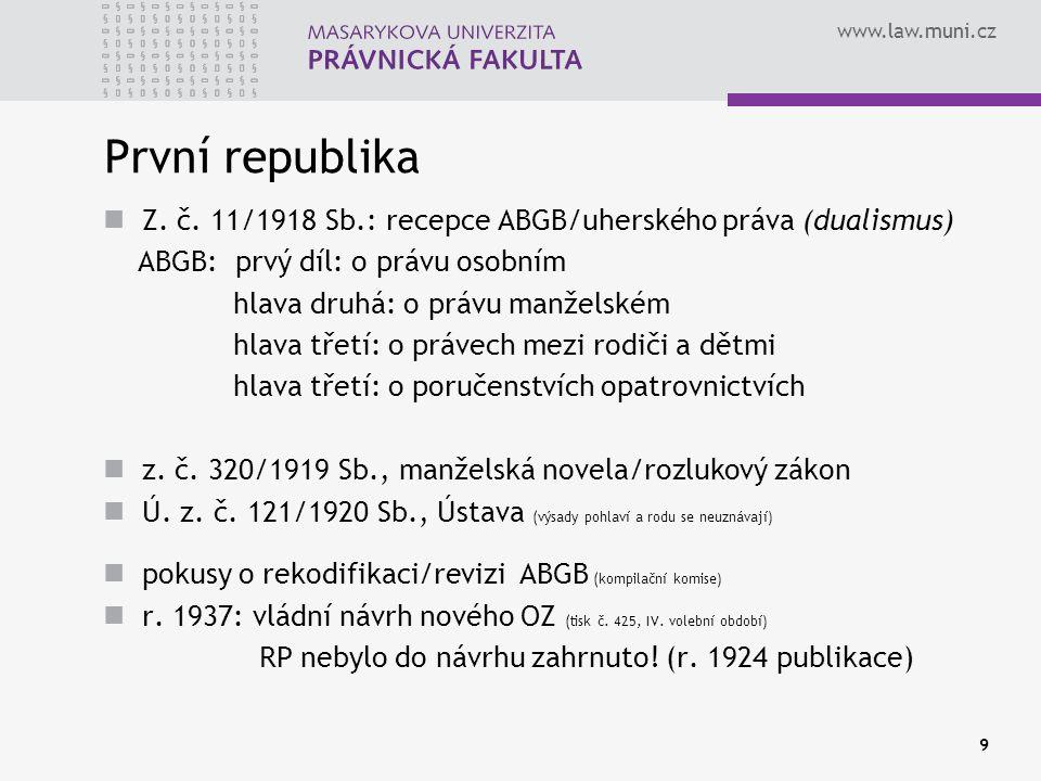 První republika Z. č. 11/1918 Sb.: recepce ABGB/uherského práva (dualismus) ABGB: prvý díl: o právu osobním.