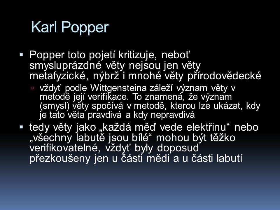 Karl Popper Popper toto pojetí kritizuje, neboť smysluprázdné věty nejsou jen věty metafyzické, nýbrž i mnohé věty přírodovědecké.