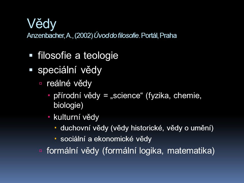 Vědy Anzenbacher, A., (2002) Úvod do filosofie. Portál, Praha