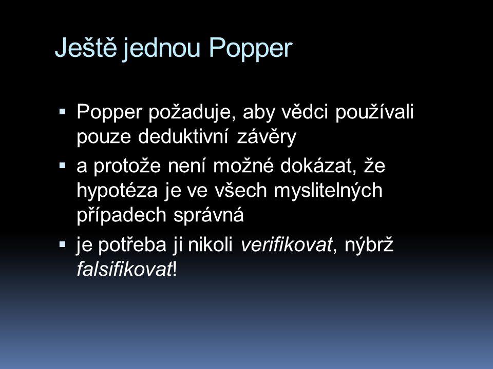 Ještě jednou Popper Popper požaduje, aby vědci používali pouze deduktivní závěry.