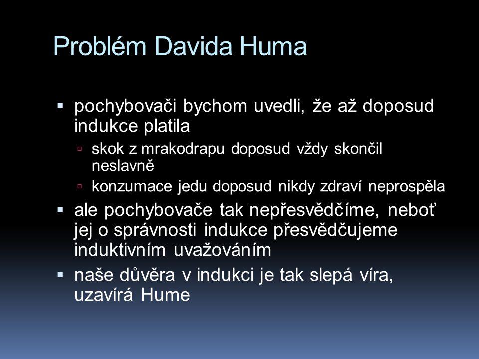 Problém Davida Huma pochybovači bychom uvedli, že až doposud indukce platila. skok z mrakodrapu doposud vždy skončil neslavně.