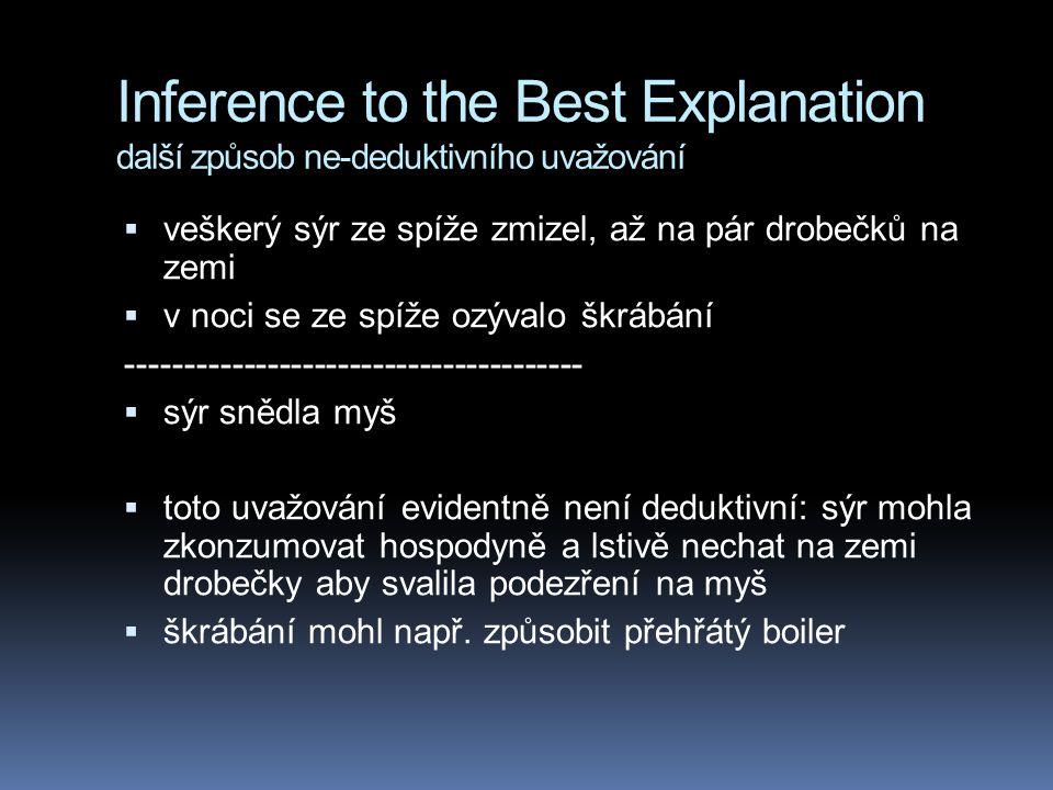 Inference to the Best Explanation další způsob ne-deduktivního uvažování