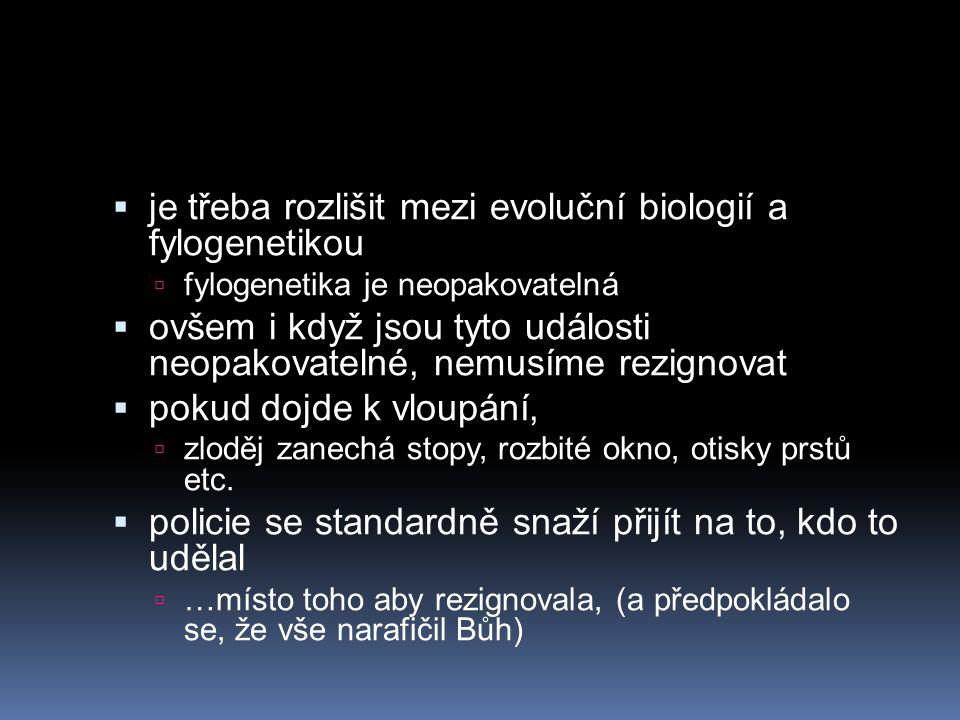 je třeba rozlišit mezi evoluční biologií a fylogenetikou