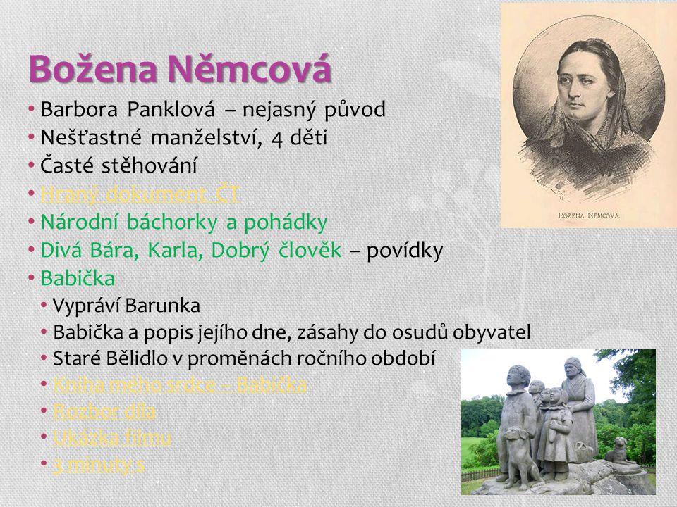 Božena Němcová Barbora Panklová – nejasný původ