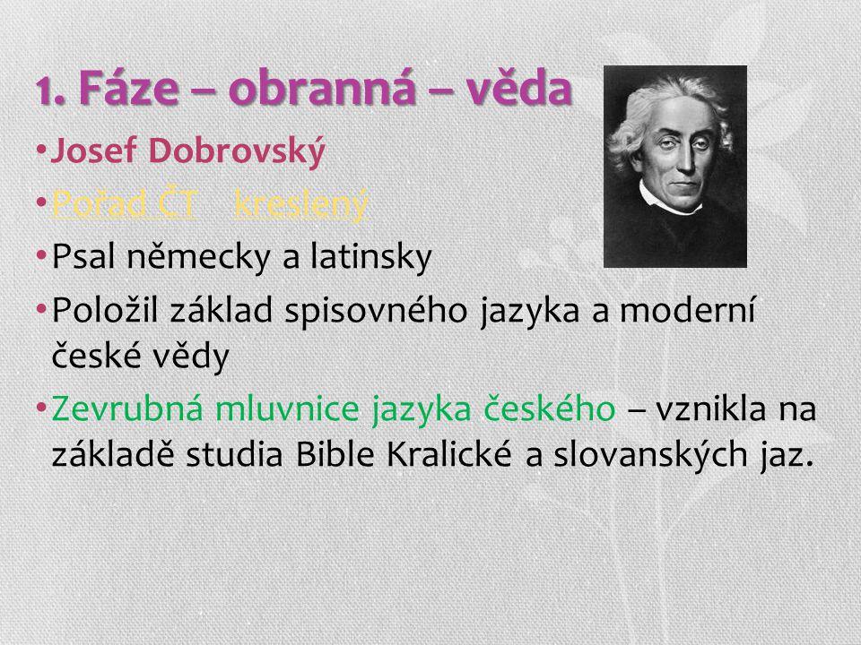 1. Fáze – obranná – věda Josef Dobrovský Pořad ČT kreslený
