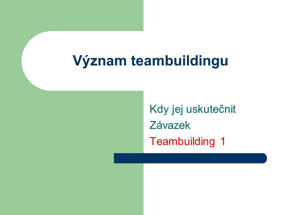 Kdy jej uskutečnit Závazek Teambuilding 1