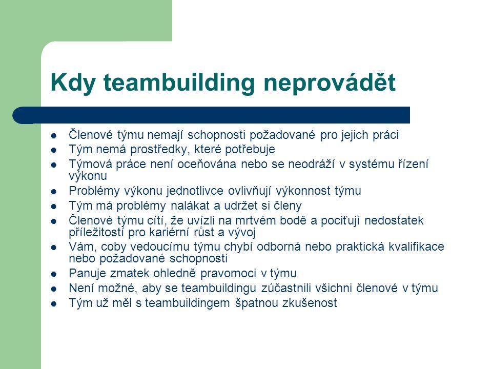 Kdy teambuilding neprovádět