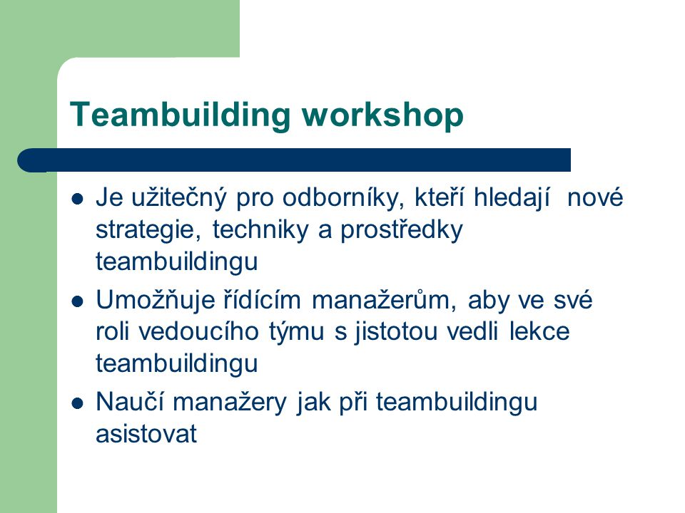 Teambuilding workshop