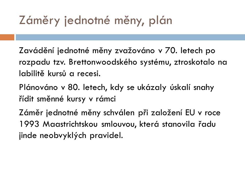 Záměry jednotné měny, plán