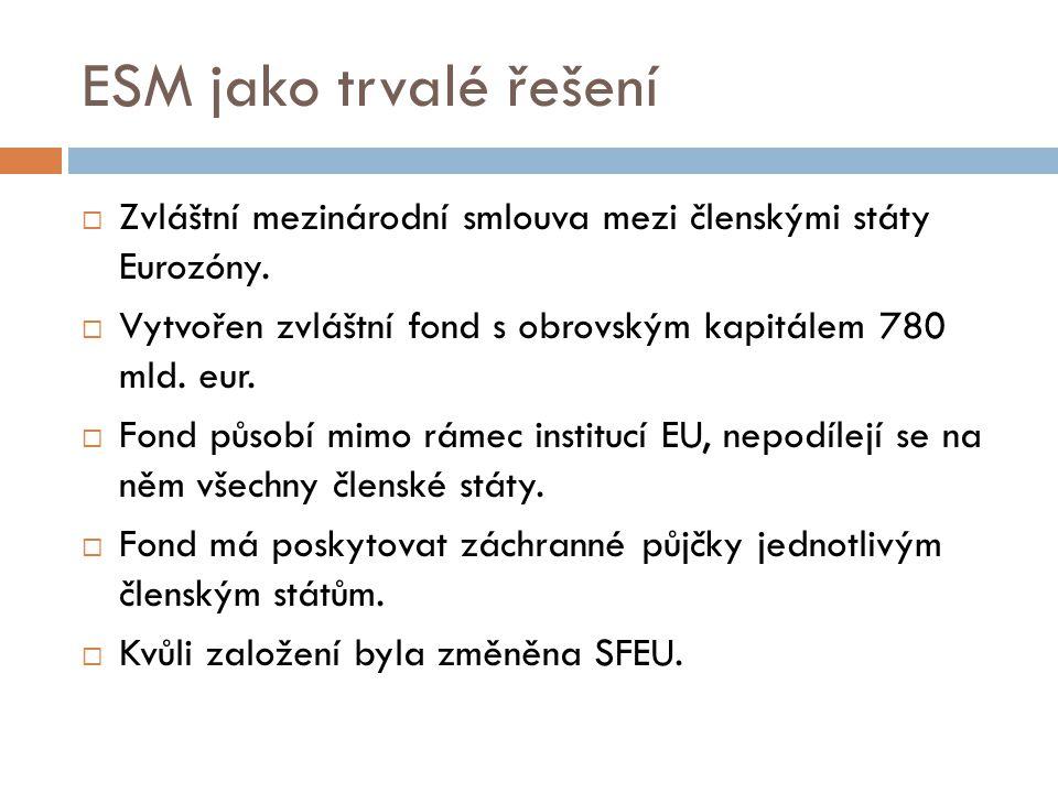 ESM jako trvalé řešení Zvláštní mezinárodní smlouva mezi členskými státy Eurozóny. Vytvořen zvláštní fond s obrovským kapitálem 780 mld. eur.