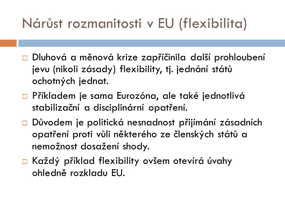Nárůst rozmanitosti v EU (flexibilita)