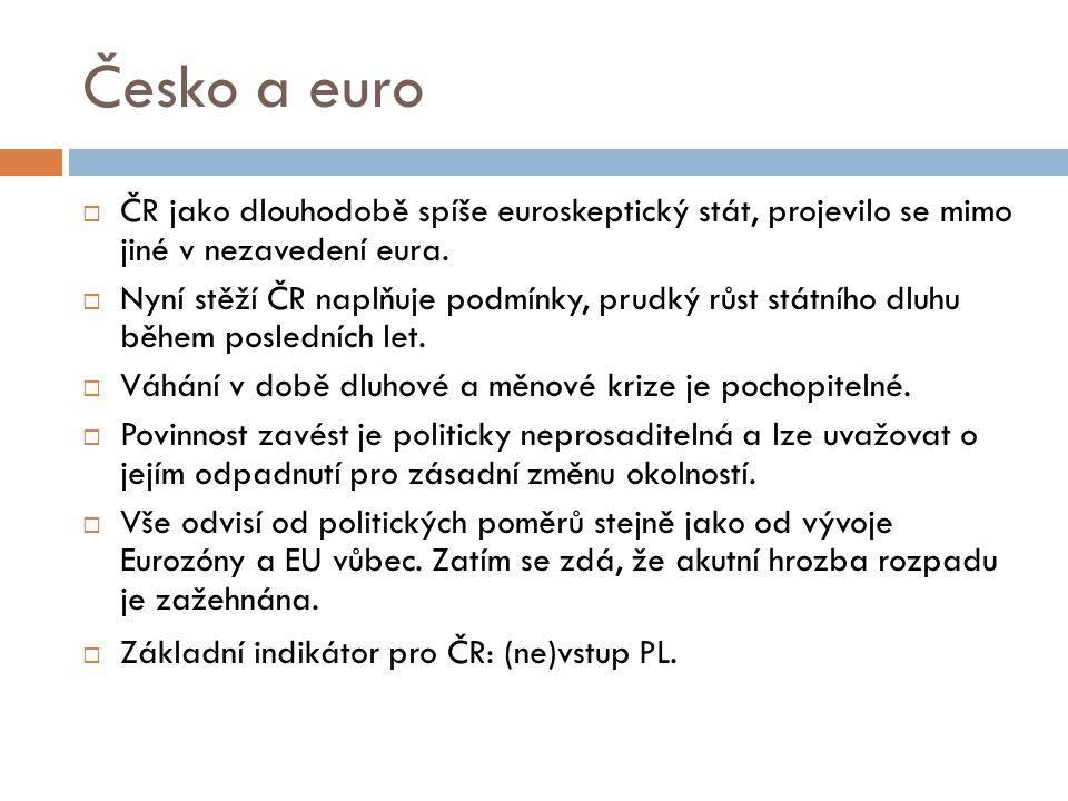 Česko a euro ČR jako dlouhodobě spíše euroskeptický stát, projevilo se mimo jiné v nezavedení eura.