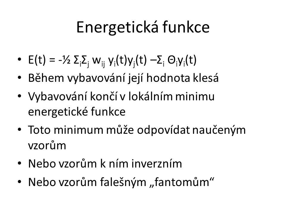 Energetická funkce E(t) = -½ ΣiΣj wij yi(t)yj(t) –Σi Θiyi(t)