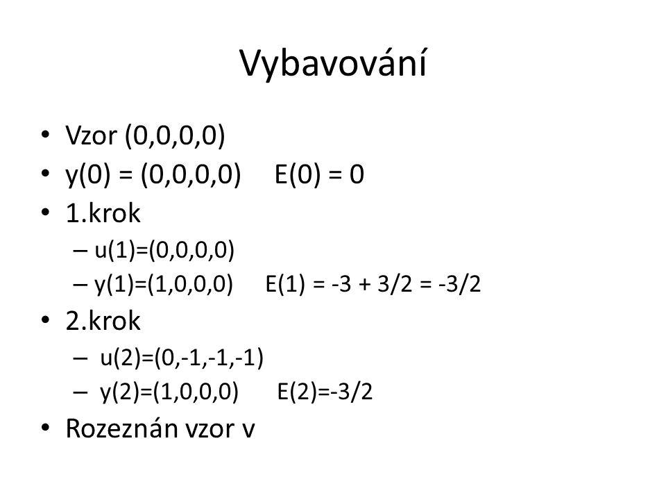 Vybavování Vzor (0,0,0,0) y(0) = (0,0,0,0) E(0) = 0 1.krok 2.krok