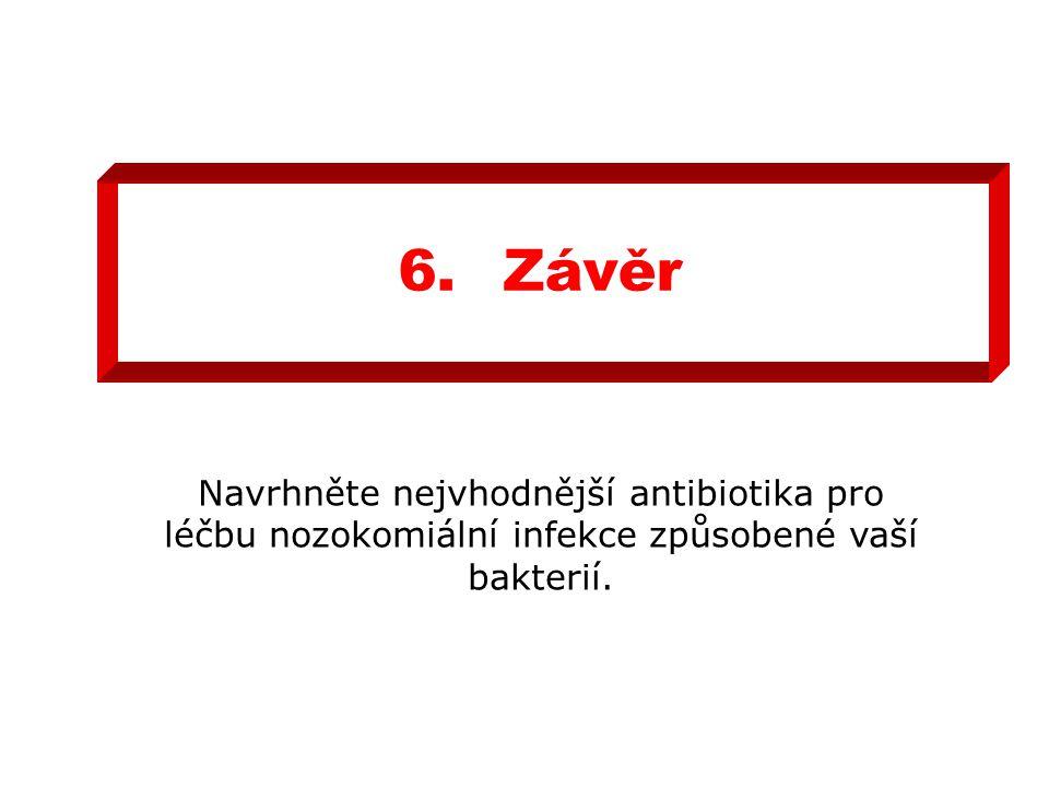 6. Závěr Navrhněte nejvhodnější antibiotika pro léčbu nozokomiální infekce způsobené vaší bakterií.