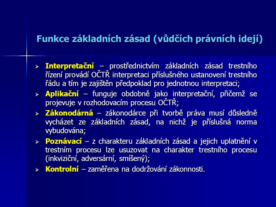 Funkce základních zásad (vůdčích právních idejí)