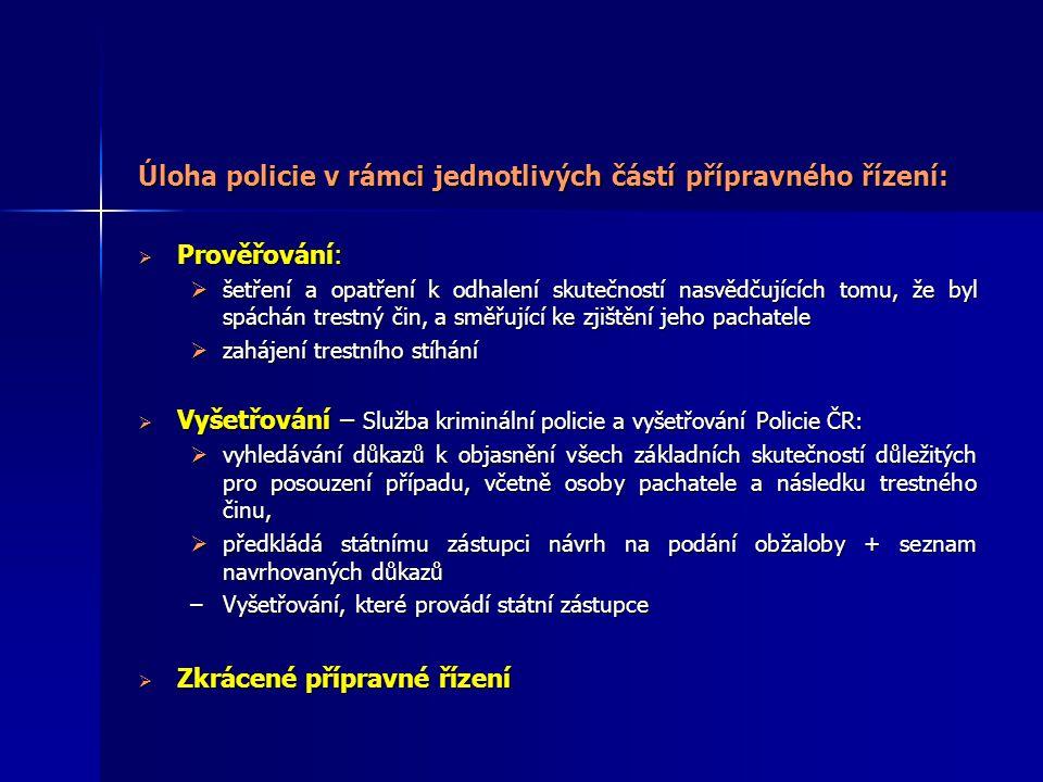 Úloha policie v rámci jednotlivých částí přípravného řízení: