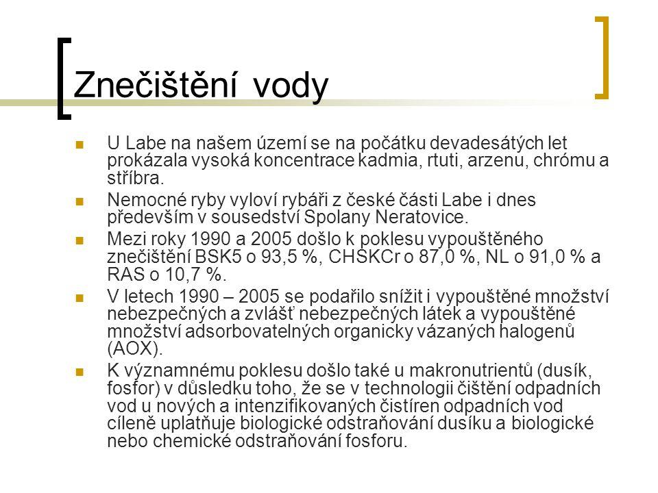 Znečištění vody U Labe na našem území se na počátku devadesátých let prokázala vysoká koncentrace kadmia, rtuti, arzenu, chrómu a stříbra.