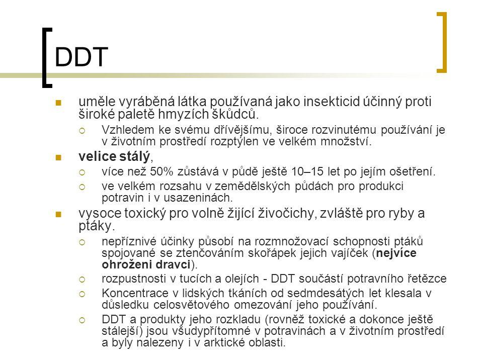 DDT uměle vyráběná látka používaná jako insekticid účinný proti široké paletě hmyzích škůdců.