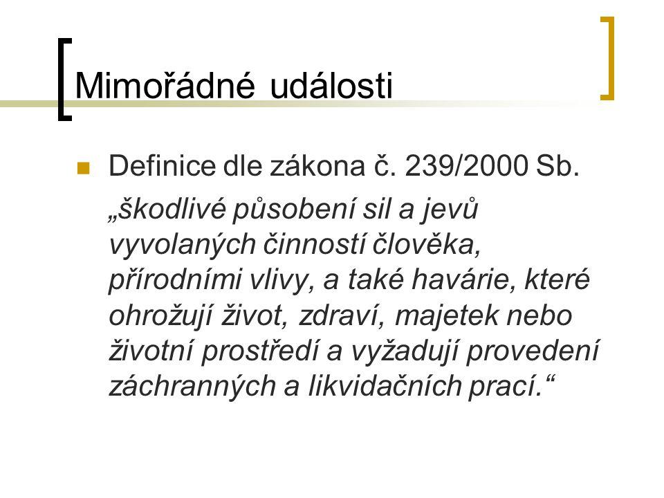 Mimořádné události Definice dle zákona č. 239/2000 Sb.