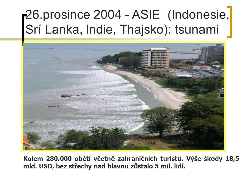 26.prosince 2004 - ASIE (Indonesie, Srí Lanka, Indie, Thajsko): tsunami