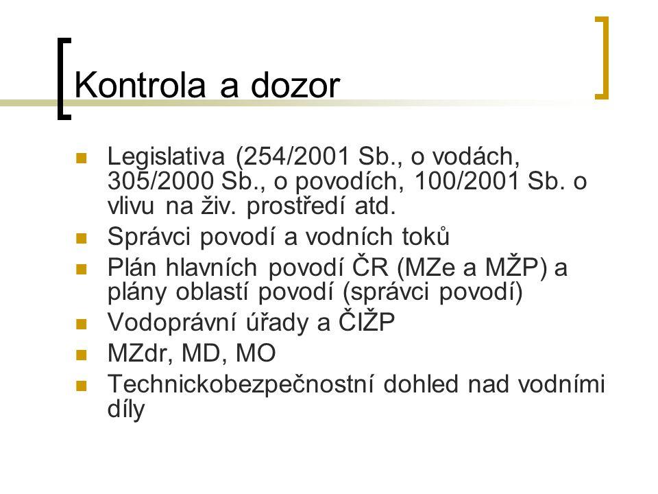 Kontrola a dozor Legislativa (254/2001 Sb., o vodách, 305/2000 Sb., o povodích, 100/2001 Sb. o vlivu na živ. prostředí atd.