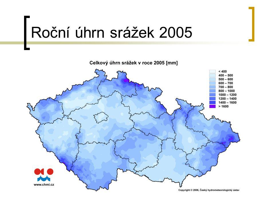 Roční úhrn srážek 2005